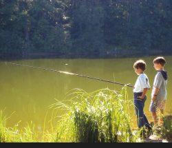 Vissende kinderen in de Vosges, camping Au clos de la Chaume